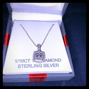 Diamond pendant with Sterling Silver Chain